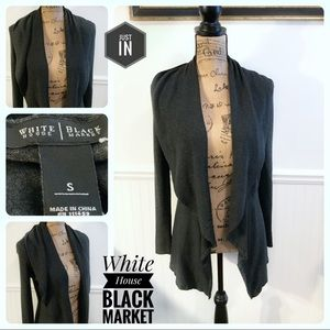 White House Black Market Gray Open Front Cardigan